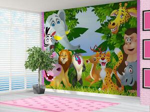 Animales En La Selva Leon Cebra Papel Pintado Pared Mural Dormitorio