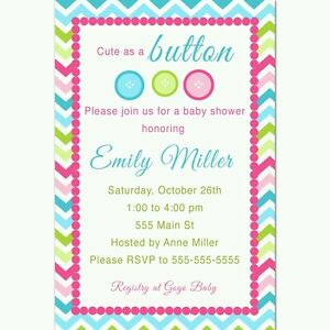 30 Invitations Personalized Baby Shower Unisex Girl Boy Cute Button