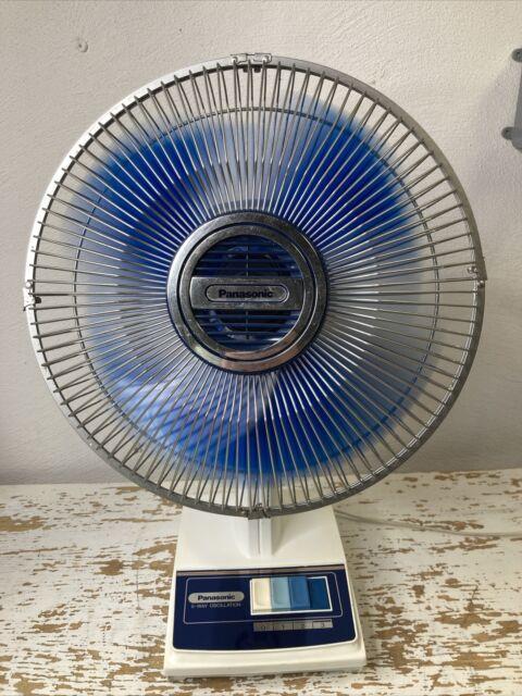 Vintage Panasonic 5 Way Oscillation Desk Fan Artic Blue Lucite Blades  F-1208