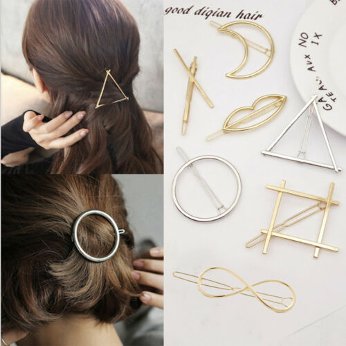 Bridal Gold Hollow Geometric Metal Hair Clips Clamps Hairpin Barrette Slide Clip