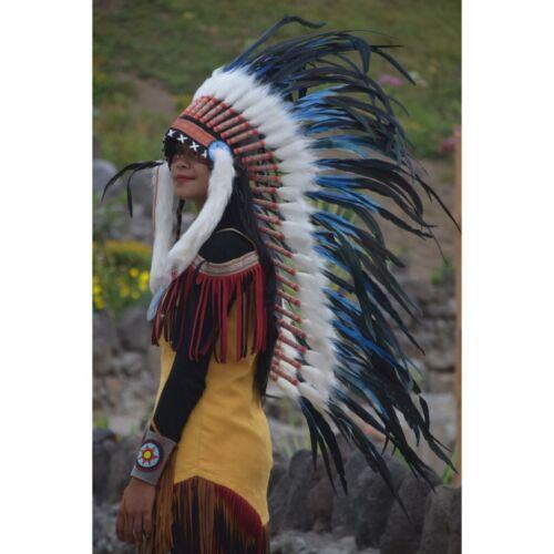 Warbonnet Indian Hat Medium Size Blue Bilabong Headdress Native American