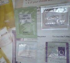DHC Samples Cleansing Oil, Q10 face cream, CoQ10 eye cream, Velvet Skin Coat