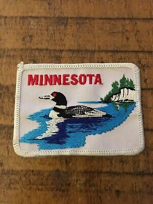 VTG-State Bird Minnesota Loon Lake sew or iron embroidered hat jacket patch