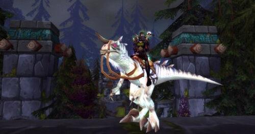 Tiny Loot Card World of Warcraft White Stallion Ivory Raptor WoW TCG Code Mount