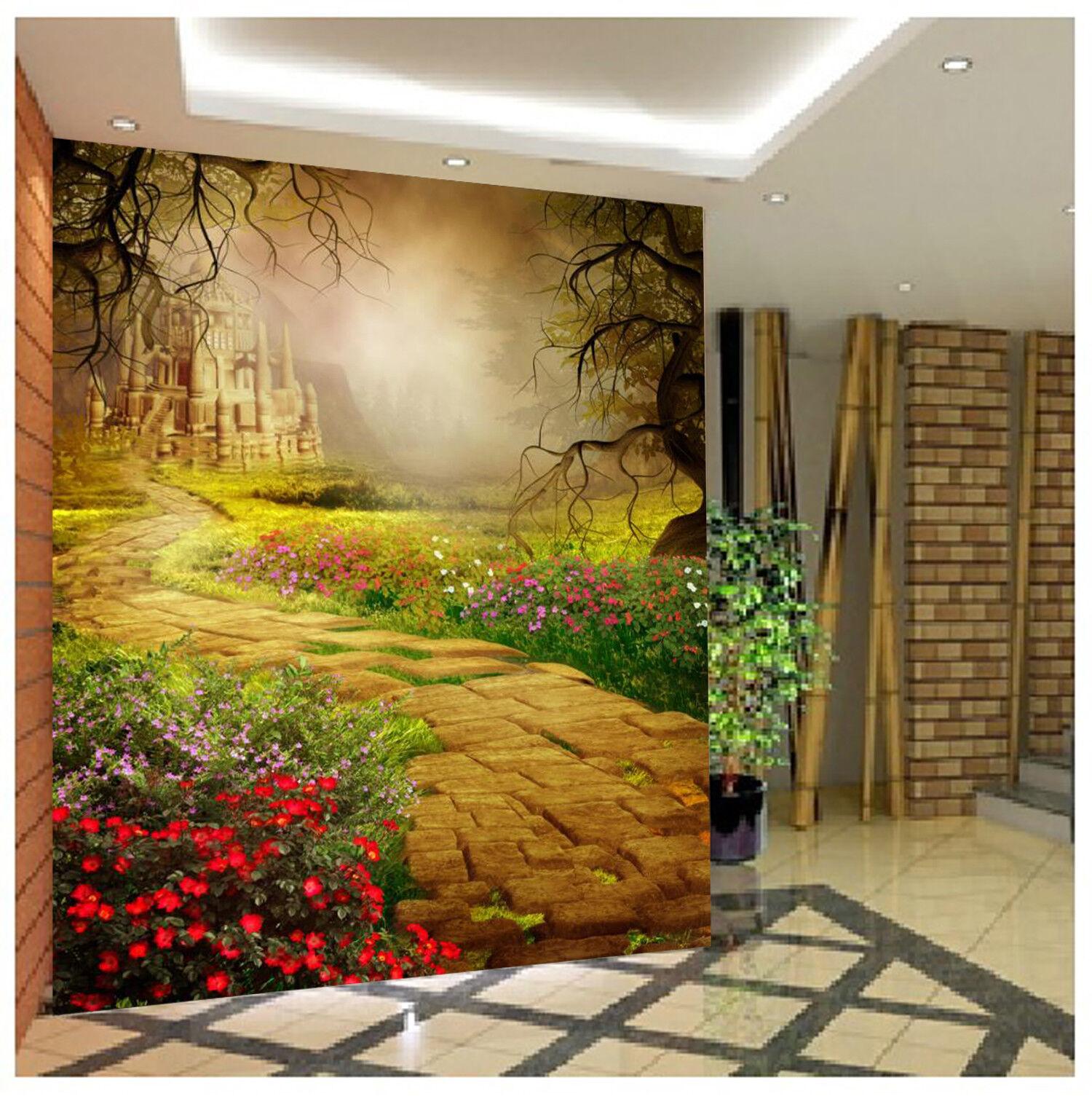 3D Fantasiewald-Schloss 58 Tapete Tapeten Mauer Foto Familie Tapete Wandgemälde