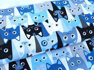 bw stoff baumwolle katzen tiere katzenstoff blau hellblau wei meterware 14909 ebay. Black Bedroom Furniture Sets. Home Design Ideas