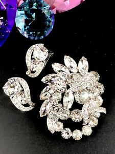 DAZZLING-EISENBERG-RHODIUM-CRYSTAL-RHINESTONE-BRIDAL-BROOCH-CLIP-EARRINGS-SET