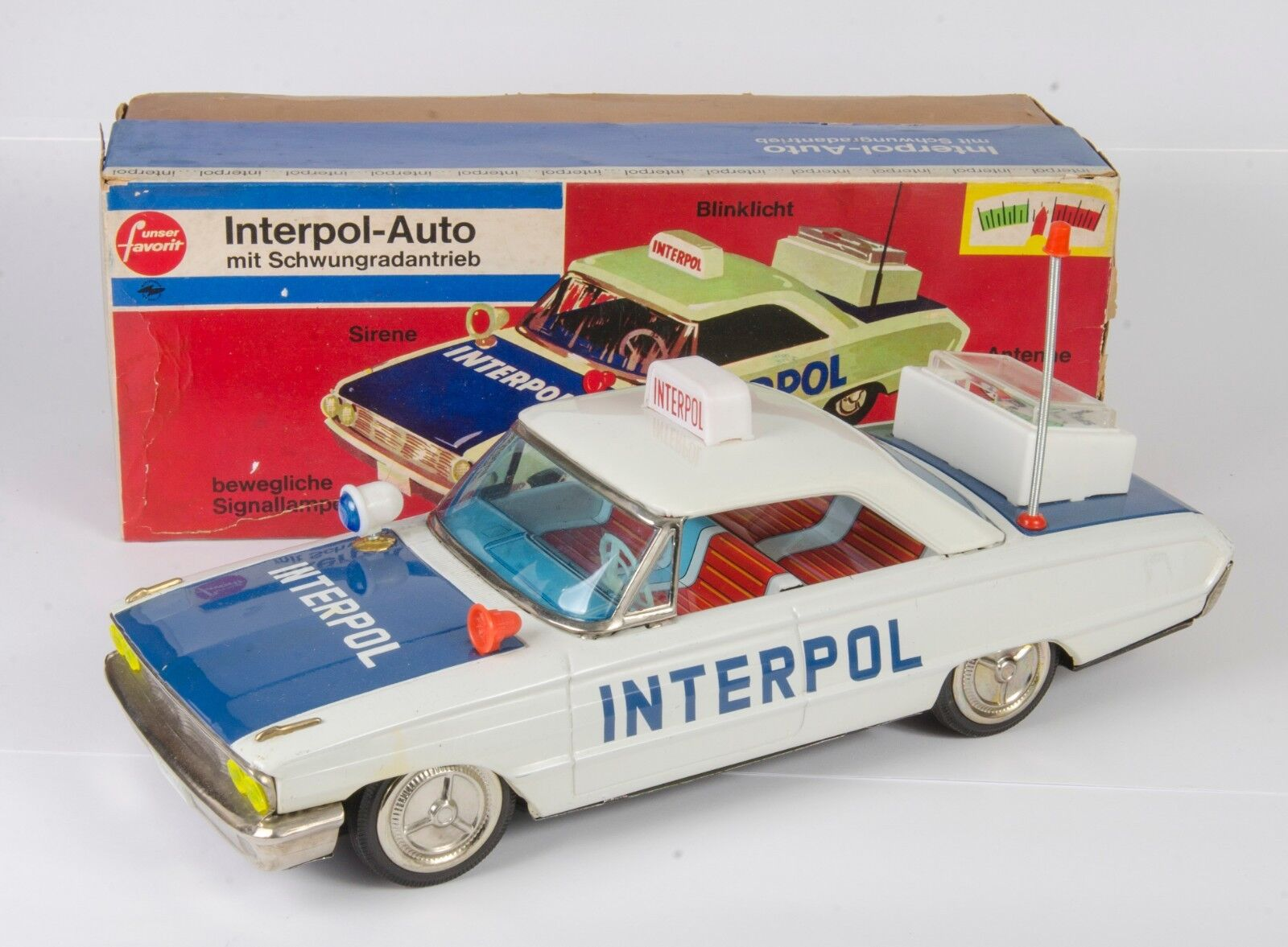 German Tinplate Unser Favorit Interpol Car. Electric. Near-MINT Boxed. 1960's