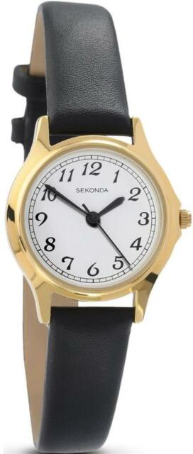 Sekonda 4134 Elegant Ladies Gold Plated Case Black Strap Watch RRP £39.99