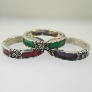 6cdfa305e Image is loading Sterling-Silver-Marcasite-Red-Green-Purple-Enamel-Stackable -