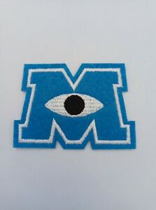 Monsters Inc Iron On Sew On Embroidered Patch M Letter | Cartoon Animation