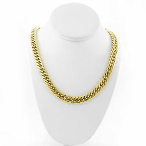 21mm SOLID 14K YELLOW GOLD FINISH THICK HEAVY MIAMI CUBAN TIGHT CHAIN 24/'/'