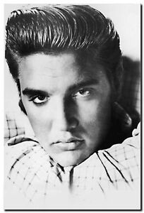 ELVIS PRESLEY FACE- QUALITY CANVAS ART PRINT- Poster A4