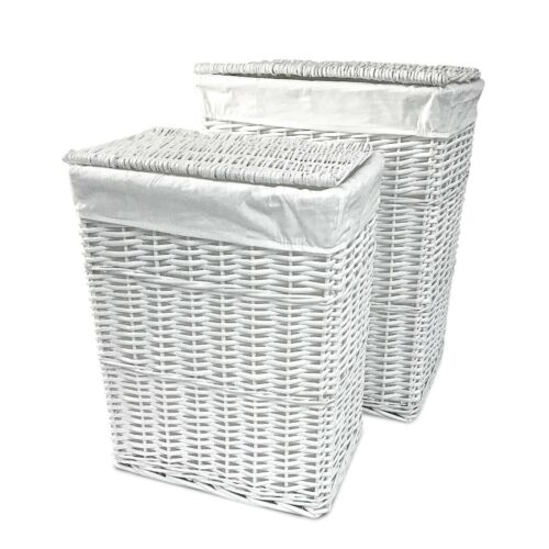 Willow Wicker Laundry Basket Home Bathroom Storage Washing Clothes White Large