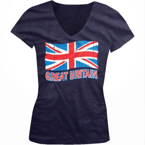 Distressed Waving Great Britain Britain Pride Nationality Juniors V-neck T-shirt