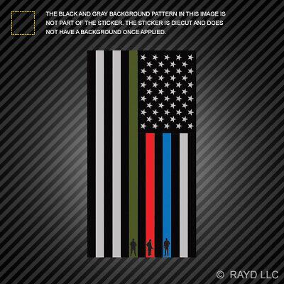 Vertical Thin Blue Line Flag Sticker Military Firefighter