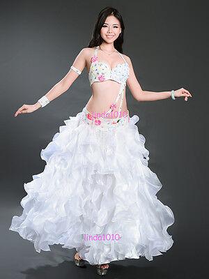 Belly Dance Costume 4 Pics Bra&Belt&2 Armbands 34B/C 36B/C 38B/C Purple White