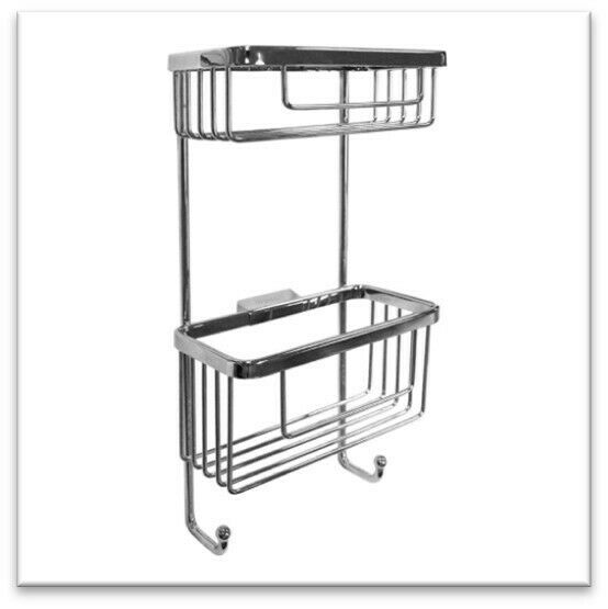 *CLEARANCE* BATHROOM Double Rectangular Wall Shower Basket with Hooks - RSB07