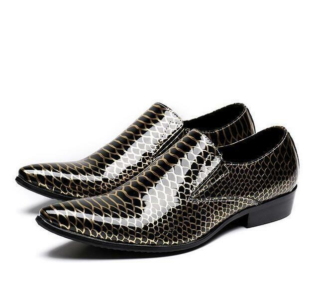 Uomo Patent Pelle Pointed Pointed Pelle Toe Slip On Loafers Shoes Hidden Heel Club Shoes US e6b8d9