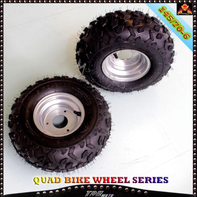 """2x 145/70- 6"""" Inch Wheel Tyre Rim 50/70/90/110/125cc Quad Bike ATV  Buggy Mower"""