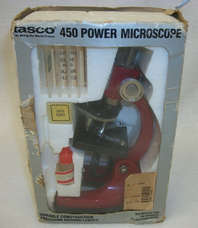 Vintage 1989 Tasco 450 Power Microscope Science Toy Discovery Kit MIB