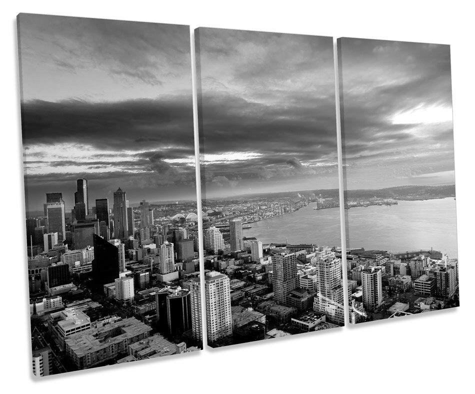 Seattle Stadt Sunset Washington B&W TREBLE CANVAS Wand Kunst Box Framed Drucken