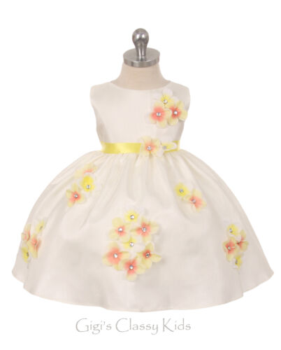 New Baby Girls Shantung Yellow Dress Wedding Birthday Formal Pageant Party 219F