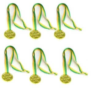 Party-Favours-Pack-of-6-Winner-Gold-Medals-Medallions-Yellow-amp-Green-Ribbon