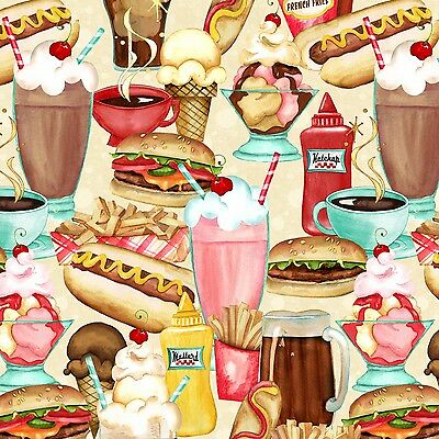At the Diner Stacked Food Multi Cotton Wilmington Prints #5951 By the Yard