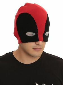 Image is loading New-Marvel-Deadpool-Half-Mask-Cap-Hat-Beanie 8795be6bee7