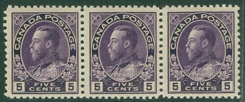 EDW1949SELL CANADA 191125 Unitrade #112a Thin paper VFMNH Strip of 3 Cat $450