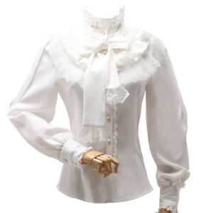 Vintage-Womens-High-Neck-Ruffle-Victorian-Lace-Long-Sleeves-Shirt-Blouse-Tops