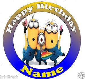"""Despicable Me PERSONALISED 7.5/"""" Round Cake Topper Pre-Cut Fondant Icing Design 1"""