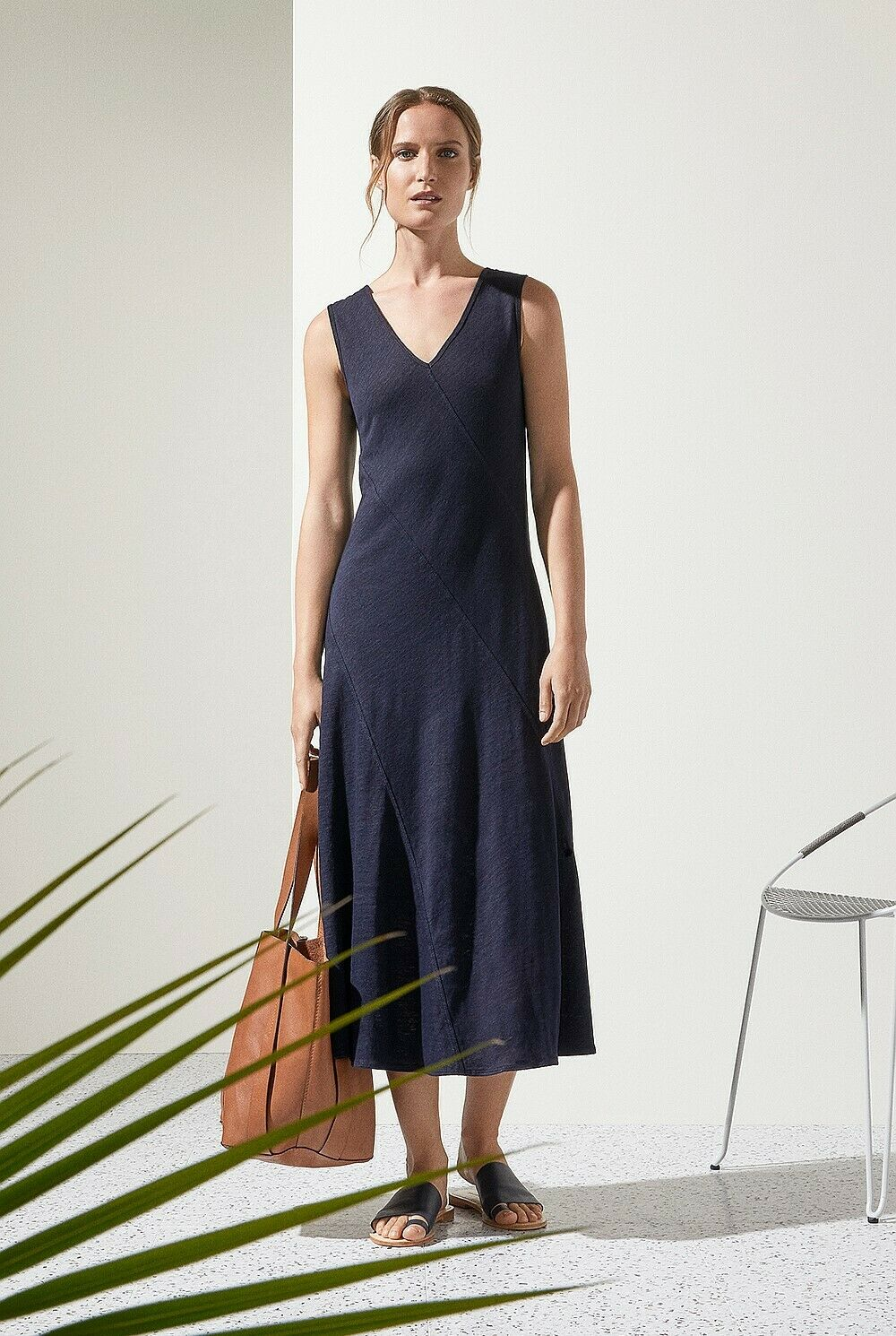 NWT  Designer Country Road TRENERY Linen Bias Panel DRESS French Navy rot