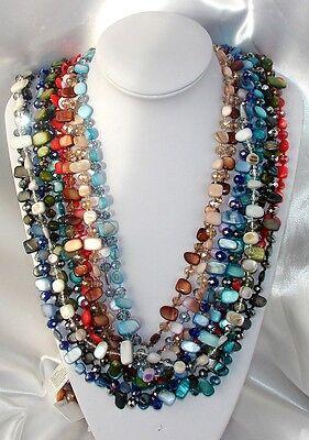 Collana Lunga Perle,Madreperla,Cristalli,Pietra Dura da Donna Multicolore