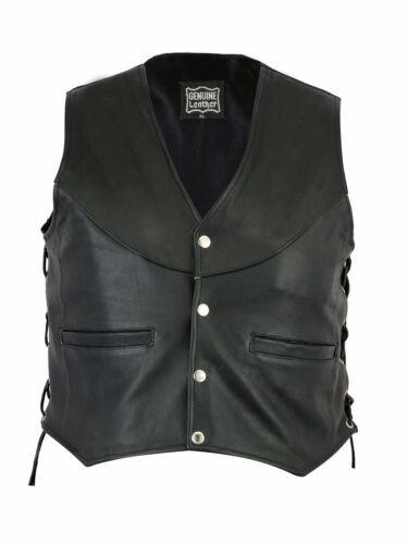 Ladies Classic Style Motorcycle Biker Top Quality Leather Vest Side Lace Up
