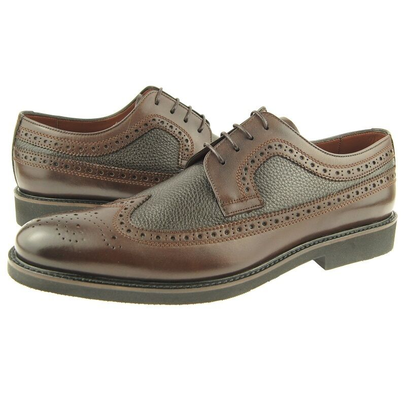Charles Stone Wingtip Oxfords, Full Brogue Men's Dress Leather shoes, Brown