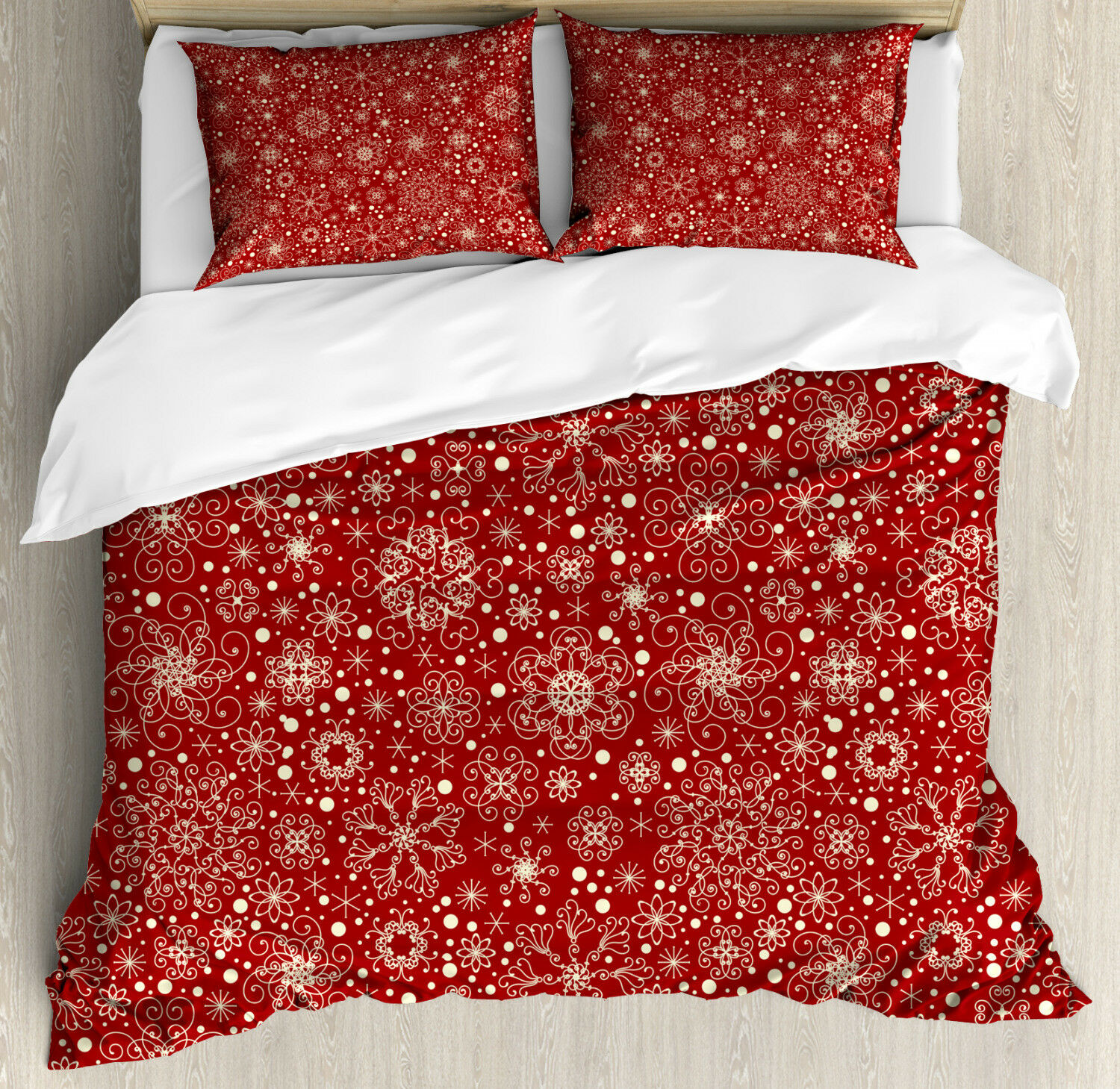 Red Duvet Cover Set with Pillow Shams Filigree Style Snowflakes Print