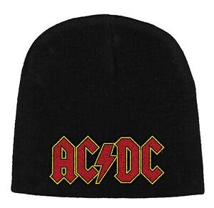 Ac-Dc-Brodee-Cap-Rouge-Logo-Brodes-Tricote-Possede-Aussie-Rock-N-Roll-Acdc