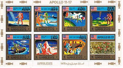 Jemen Ajman Apollo Proramm Klbg 2669/76 Mit Gold Rand Tropf-Trocken