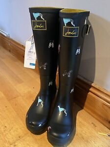 Joules-Black-Dog-Wellies-Size-4-2245