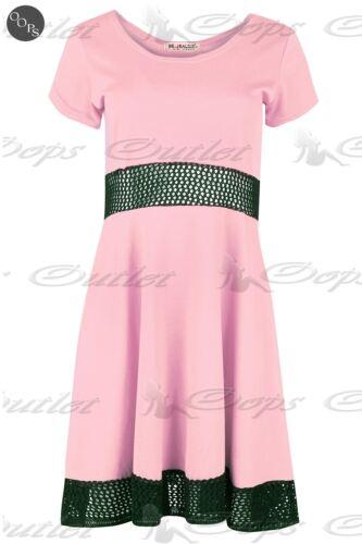 Femmes Mancheron Taille Tricot Toile Fête Swing Mini Robe Patineuse Grande