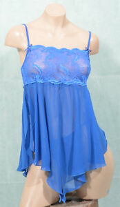 SHEER BEAUTIFUL BLUE PINK FEATHER MARABOU MINI BABYDOLL CHEMISE G STRING S M L