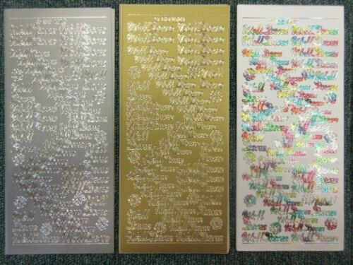 "/""bien hecho/"" Oro Plata Multi Cardmaking texto Cáscara offs Pegatina Hojas DD2529"