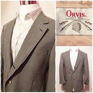 cfd618f8a453 Orvis Mens VTG Blue Check Cotton Blazer Jacket Sports Coat Size 42R ...