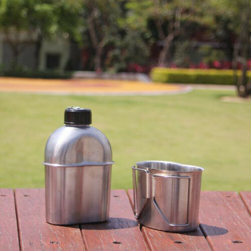 Outdoor Stainless Steel 1L Kettle and 0.6L Cup Set for Camping Hiking Picnic