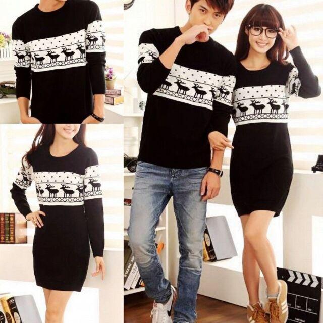 Women's Men's Lovers' Clothes Xmas Reindeer Knitting Sweater Jumper Dress Coats