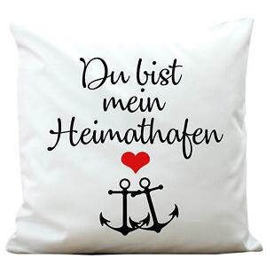 deko kissen du bist mein heimathafen kp344 polyester wei. Black Bedroom Furniture Sets. Home Design Ideas