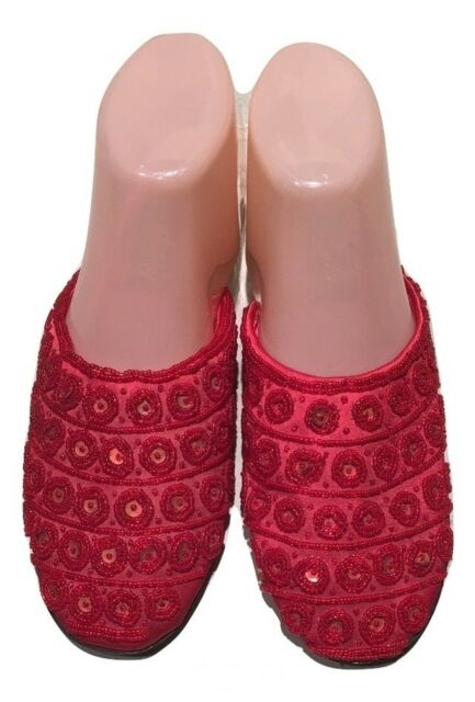 Red Flat Slides Size 5 With Tiny Sequins and Beads NWT