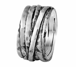 Spinner Contemporary Design 925 Sterling Silver Spira Handcrafted Ring Size